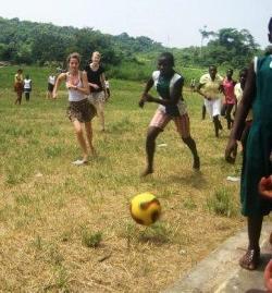 Enjoying a game of football