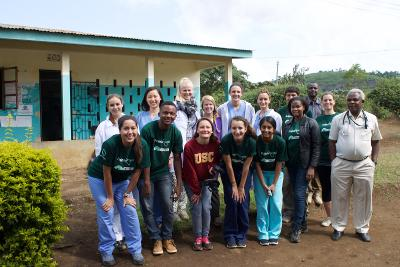 With staff and volunteers during the Medicine project in Tanzania