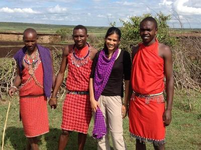 With tribe in Kenya