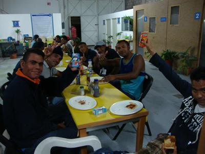 Enjoying a meal at an International Development placement
