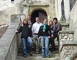 With other volunteers at castle