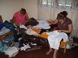 Sewing the costumes