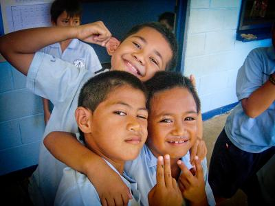 Children at a teaching project in Samoa