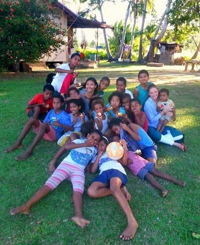 With young schoolchildren in Fiji