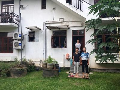 Volunteers at the home of their host family in Sri Lanka
