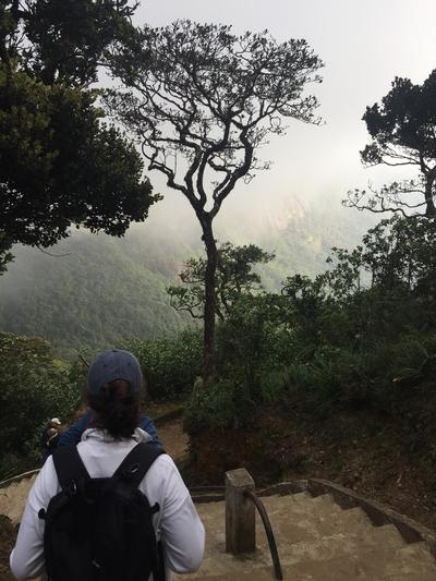 Volunteers decending Adams Peak in Sri Lanka