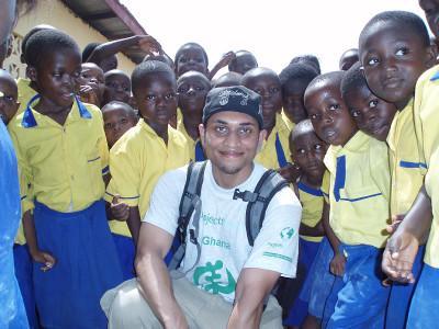 With school children
