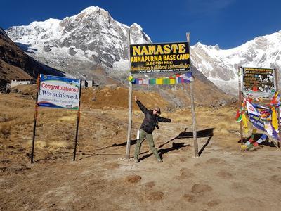 Sharon at Annapurna base camp