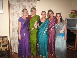 Me and other volunteers wearing our sarees