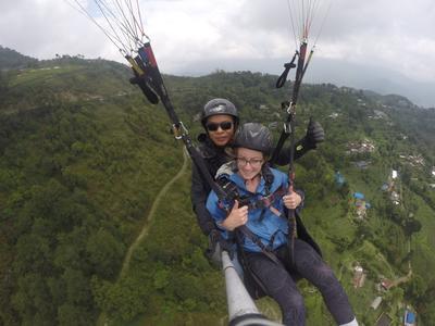 Sophia paragliding in Nepal