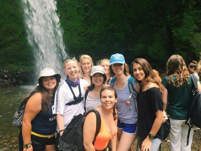 Volunteers at Mount Meru waterfall in Tanzania