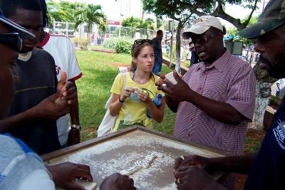 Playing dominoes with the locals