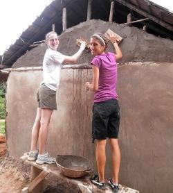 Rebuilding the mud huts