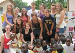 The volunteers and children