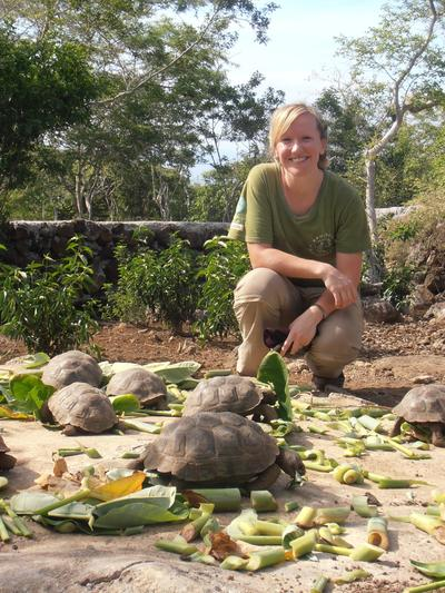 Feeding tortoises for her Conservation Project