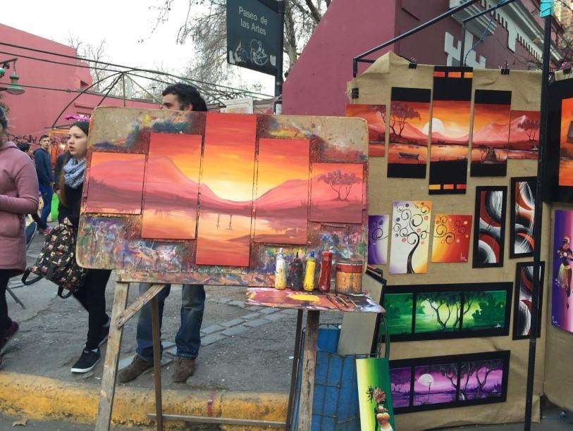 Art being sold on the street in Cordoba
