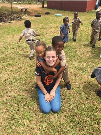 Trystin spending time with the children at her placement