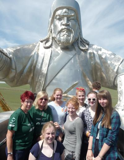 Visiting the statue of Ghengis Khan in Mongolia