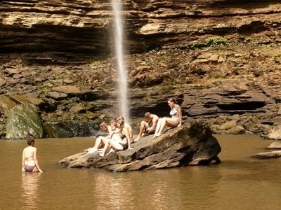 Visiting waterfall