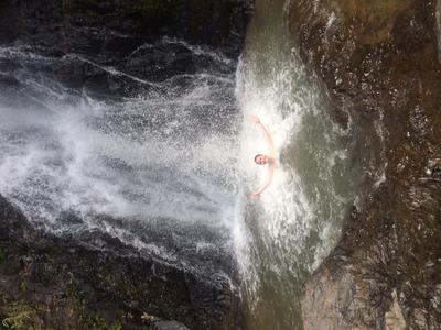 Victoria enjoying the waterfalls in Thailand