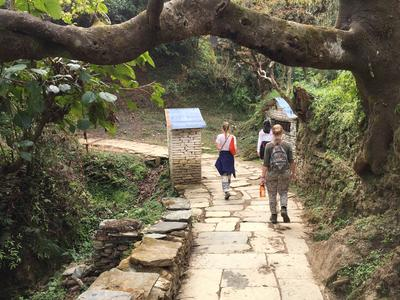 Volunteers going on a hike in Nepal