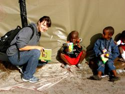 Visiting children at reufgee camp