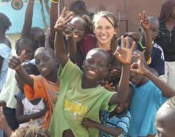 With children in Senegal