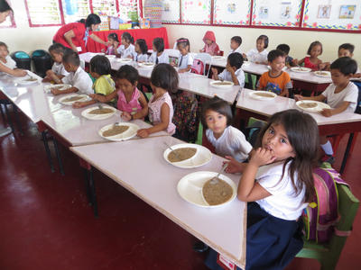 Children in schools receive a meal