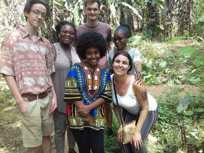 Volunteers spending time with local people in Togo