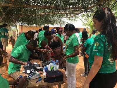 Volunteers working at a medical outreach