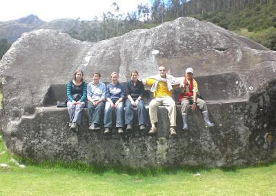 Volunteer group on rock