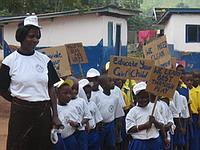 Local children going on a march