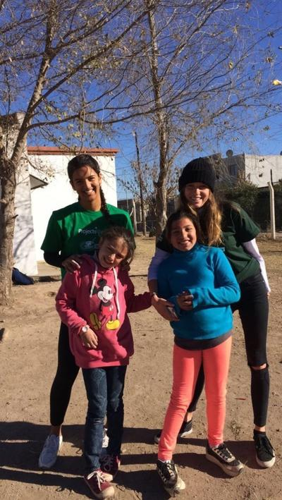 Volunteers spending time with children in Argentina