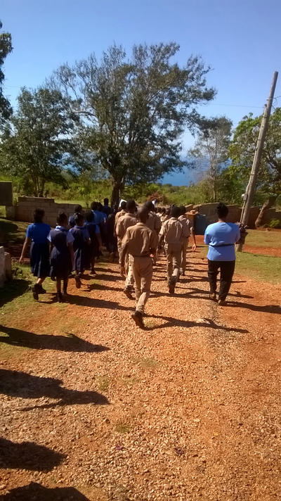 School children marching in Jamaica
