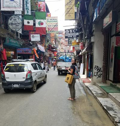Barbara in the streets of Nepal