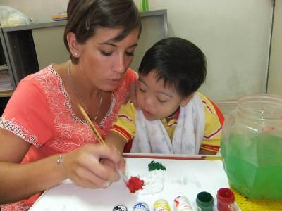 Painting session with child