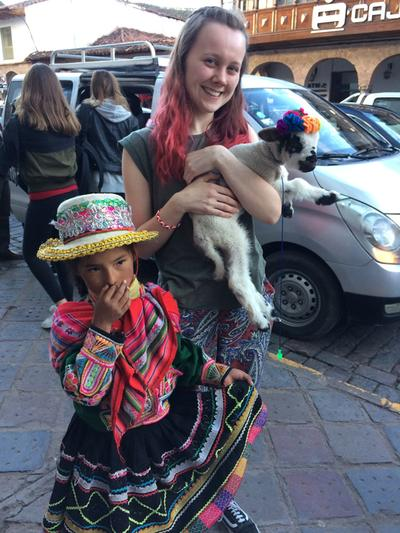 Bethany with a local girl in Cusco