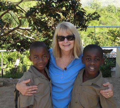 Jenny with school boys