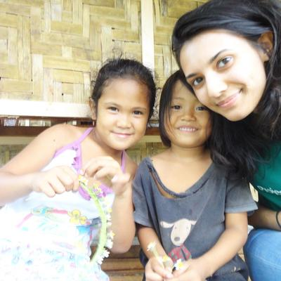 Bushra with the kids in the Philippines