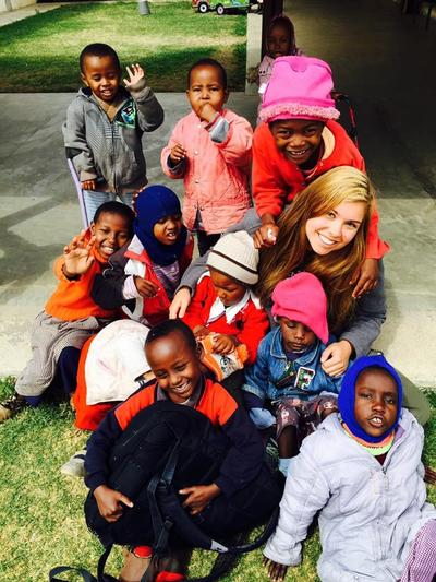 Casie with the children at her Care project