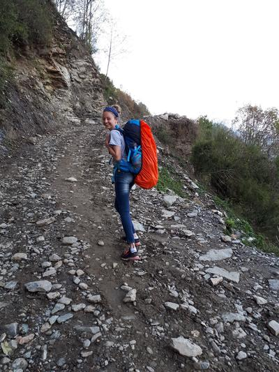 Cecilia hiking to Ghandruk for the Himalayan Mountain Conservation Project in Nepal