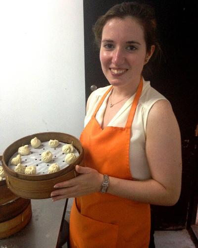 Making dumplings in Shanghai