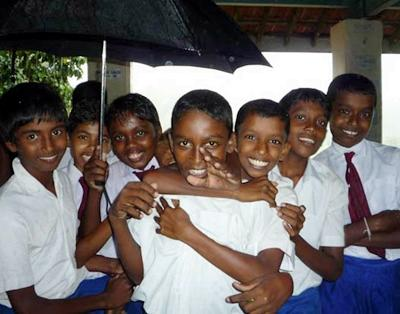 Smiling school kids