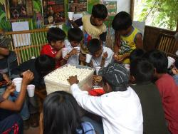 Working with the local children