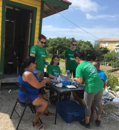 Medical volunteers working at a mobile clinic in Belize