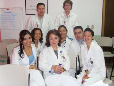 With hospital colleagues