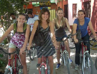 Cycling with other volunteers