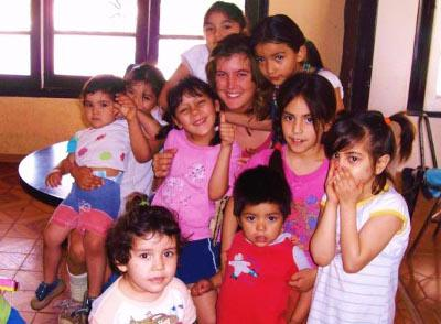 With children at orphanage