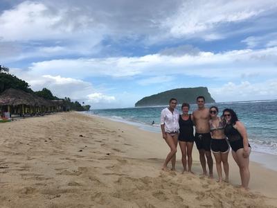 Volunteers on a beach in Samoa