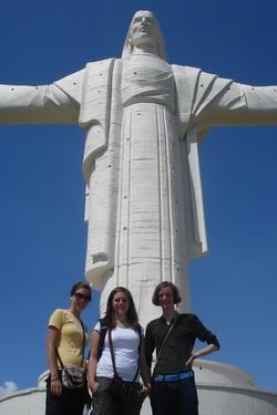 At the statue of Christ